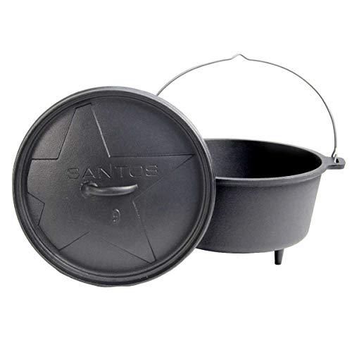 SANTOS Dutch Oven, Schmortopf für Außenküche, 9 Qt mit Füßen, Gusseisen