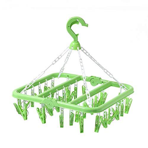 32 Clips Kleiderbügel Falten Kunststoff Aufbewahrungsregal Unterwäsche Babykleidung Schal Socke Anti-Deformation Trockenregal Home Organizer, grün, 32
