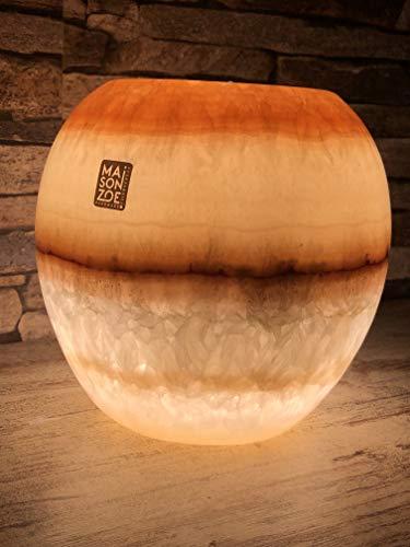 Maison Zoe Alabaster Steinlampe - Tischlampe kleine Kugel form perfekt für Wohnzimmer - handgeschnitzte Nachttischlampe Schlafzimmer - Kinderzimmer ~ 1.5 Kilos