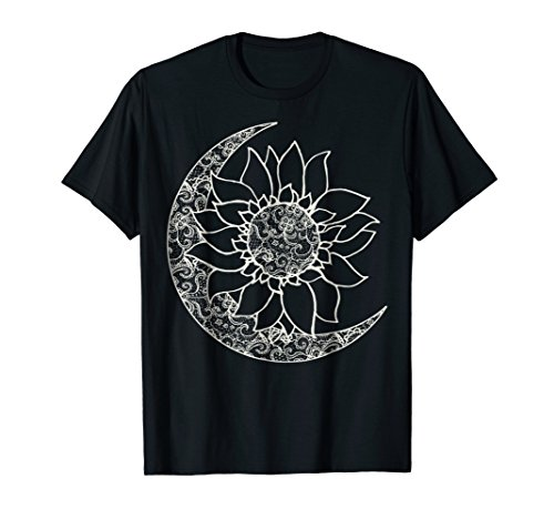 Moon And Sun Inside Sunflower Graphic T-Shirt