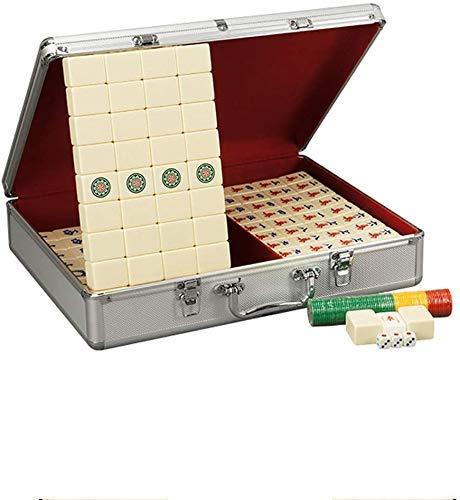 YLJYJ Boutique Mahjong Set - Coffret Cadeau en Aluminium Exquis, Production de mélamine, Majong Set Mah Jong Mah Jongg Sets Majiang, Grand/Petit (Sport)