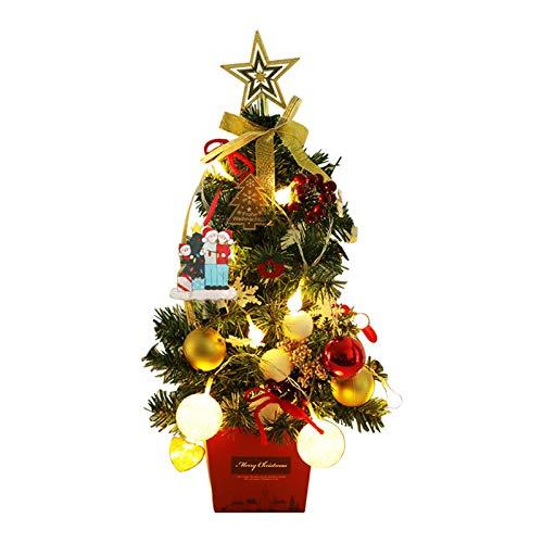 Tisch-Weihnachtsbaum-Set mit LED-Lichtern, 50 cm, künstlicher Weihnachtsbaum, Goldener Stern Baumspitze und festliche Ornamente, für DIY Weihnachtsdekorationen