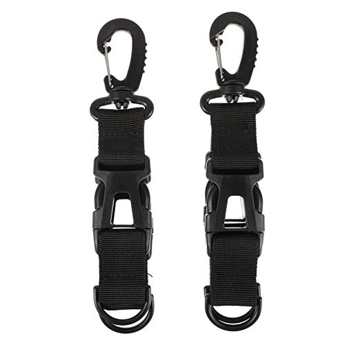 WINOMO 2pcs Tactical Gear Carabiner Clip Nylon Backpack Hanging Buckle Keychain Multi-functional Carabiner Belt Clips Camping Snap Hook for Webbing Attachement