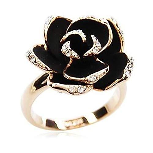 BQZB Ring Modeschmuck Ringe Schwarz Rose Blume Öffnung Ringe Index Finger Verstellbare Ringe für Frauen Mädchen Geschenk