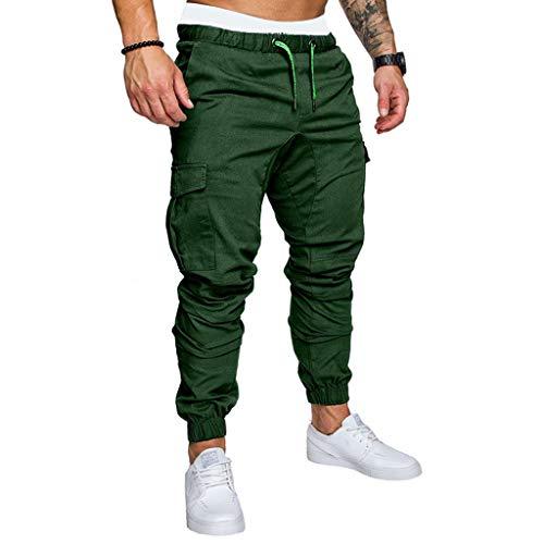 Loalirando Pantaloni Sportivi Uomo Pantaloni Uomo Tasche Laterali Tinta Unita Fitness Casual Palestra Corso (Verde, S)