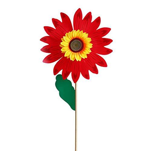 VIccoo Wind Spinner, Holz Sonnenblume Windmühle Wind Spinner Windräder Hausgarten Hof Dekoration Kinder - rot