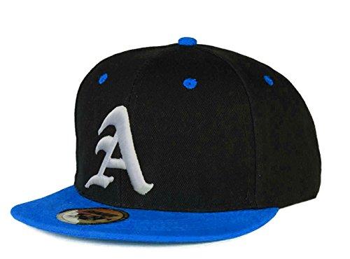 Gorra de béisbol Snapback 3D, letra A Gótica Hip-hop multicolor A Blue White Regular
