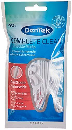 Dentek Complete Clean Zahnseide Sticks - reißfest - Zahnreinigung der Zahnzwischenräume - Minzgeschmack - Fluorid - Zungenschaber - Zahnstocher, 1 x 40 Stk.