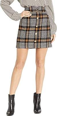 J.O.A. Womens Houndstooth Scalloped Waist Mini Skirt