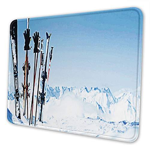 Juzijiang Alfombrilla De Ratón Alquiler de esquís de Snowboard, Alfombrilla Gaming, Base De Goma Antideslizante para Gamers, Pc Portátil - 24x20cm