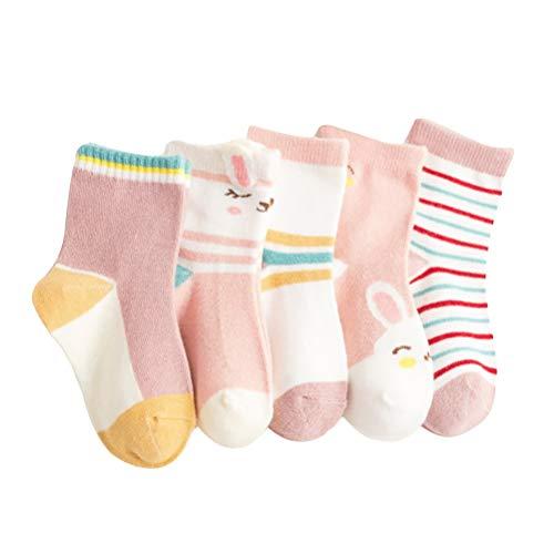 Kindersokken met hoge enkelsokken, 5 paar, smiley gezicht, biggen, pentagram, konijnen, 3-9 jaar, gebreide sokken voor jongens en meisjes, ademend, flexibel XL (ongeveer 7-9 jaar oud) -C