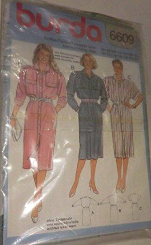 Burda mehrgrößen Schnittmuster 6609 - Damen Kleid, Hemdblusenkleid - gr 36-48