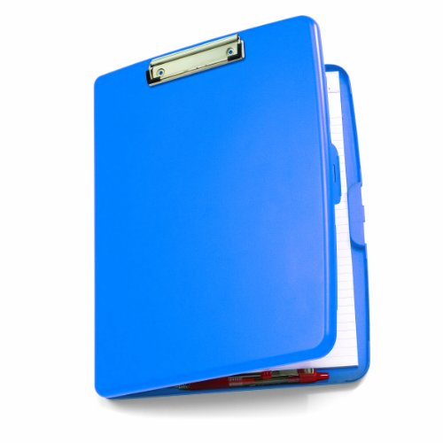 Officemate Clipboard Storage Box (A4 Size) – Slim & Compact Document & Paper Storage Box File with Clipboard – Great for Office, Hospitals, Job Site & Classrooms - Blue 83377
