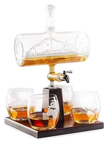 ZKDY Decantador de Whisky Conjunto con 4 Gafas y Soporte de Madera de Roble, dispensador de Licor Libre único para escocés, Ron y Alcohol Decantador de Whisky