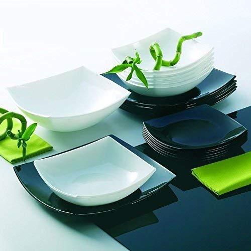 Luminarc servizio piatti quadro moderno per 12 persone 37 pezzi in bianco e nero con insalatiera