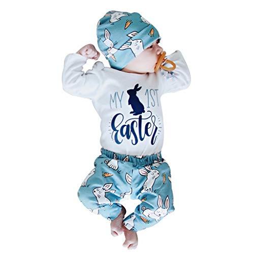YWLINK Bebé ReciéN Nacido NiñA NiñO De Dibujos Animados Primeros Trajes De Conejito De Pascua Romper Hat Pantalones Conjunto 3M-18M