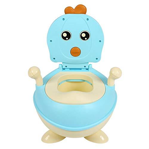 Vasino per Bambini Bimbi, Vasino per Bimbi Animali Design Divertente, Vasetto WC per Bambini da Viaggio Riduttore WC Bambini, Schienale Ergonomico Alto Confortevole e Robusto(Blu)