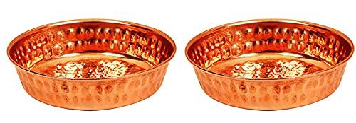 Evercrafting Plato de arroz de Cobre Martillado, vajilla y vajilla para Restaurante en casa, 2 Piezas