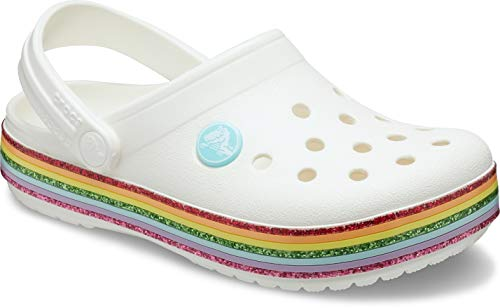 Crocs Crocband Rainbow Glitter Clog, Zoccoli Unisex-Bambini, Bianco (White 100), 27/28 EU