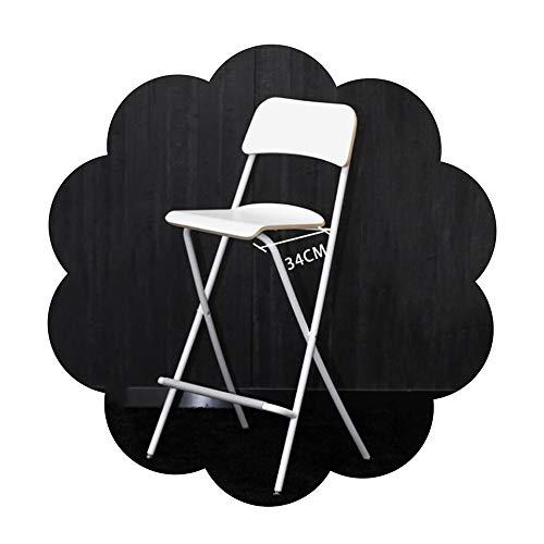 Tabouret de bar Chaise pliante Birch dossier cadre en acier studio Président (Hauteur d'assise 62 / 74cm) Couleur: Blanc Noir (Color : White, Size : 62cm)