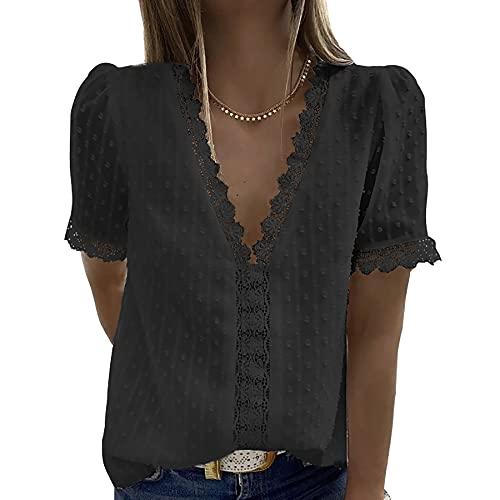 WXDSNH Camiseta Mujer Encaje Jacquard Manga Corta Casual Color Sólido Camisa con Cuello En V