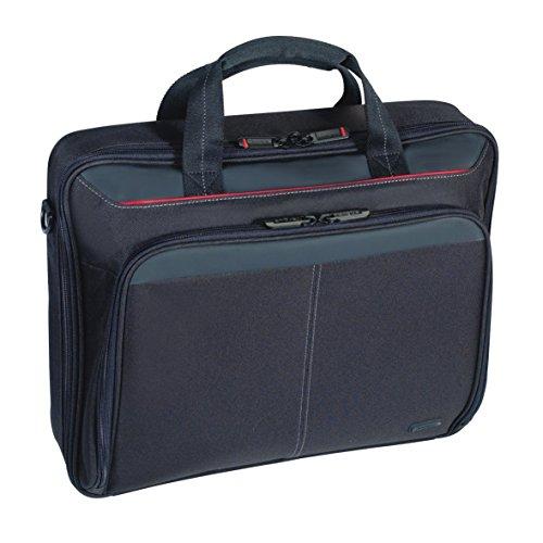 Targus Classic Clamshell Case Laptoptasche 15,6 Zoll, bequeme Umhängetasche mit gepolstertem Schultergurt, Notebooktasche mit Innenfächern – Schwarz, CN31