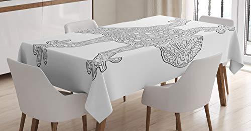 ABAKUHAUS Salamandre Nappe, Vue d'ensemble détaillée Lézard, Linge de Table Rectangulaire pour Salle à Manger Décor de Cuisine, 140 cm x 240 cm, Gris foncé et Blanc