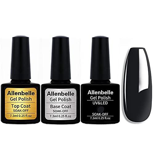 Allenbelle (Base & Top Coat + one colore) Smalto Semipermanente Nail Polish UV LED Gel Unghie Base Coat&Top Coat (Kit di 3 pcs 7.3ML/pc) 1348