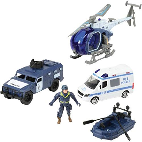 CP Toys 8 Piece City Police Special Ops and Rescue Set with Light and Sound Patrol Van, Helicopter with Light, Armored Vehicle and Life-Raft with Paddles for Ages 3 Years and Up