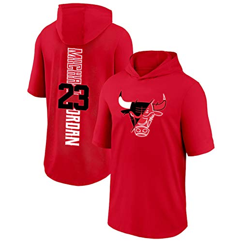 Camiseta de manga corta para hombre Jordan 2020/21 New Season City Edition Bulls con capucha para hombre Top Jerseys Screen Print Graphics rojo Jordan 3-L