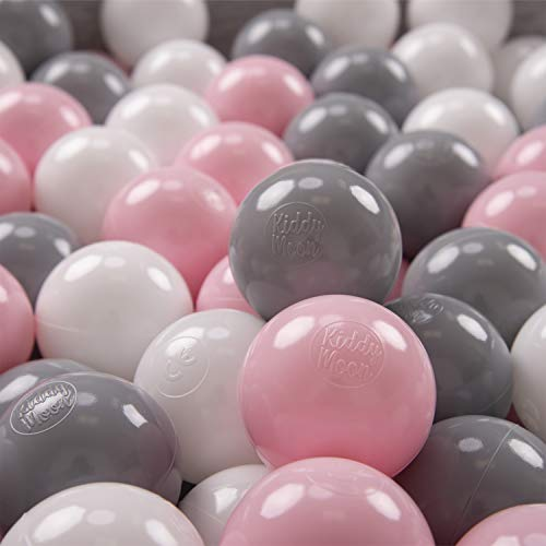 KiddyMoon 200/6Cm Kinder Bälle Für Bällebad Spielbälle Baby Plastikbälle Made In EU, Weiß/Grau/Puderrosa