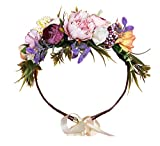 DDazzling Flower Girl Crown Bridal Flower Crown Pregnant Woman Photo Prop (Pink Purple Champagne)
