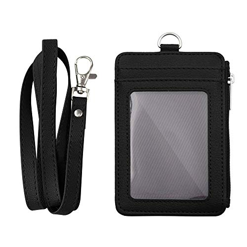 """Badge Holder with Zip, Slim Double Sided PU Leather ID Card Holder Wallet Case with 5 Card Slots, 1 Side Zipper Pocket and 18"""" PU Neck Lanyard/Strap, Vertical"""