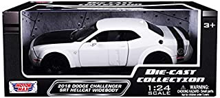 2018 Dodge Challenger SRT Hellcat Widebody White with Black Hood 1/24 Diecast Model Car by Motormax 79350w