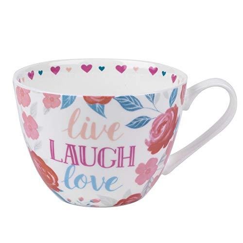 "Portobello CM06017 Wilmslow-Tasse ""Live, Laugh, Love"" mit Blumenmuster, Porzellan"
