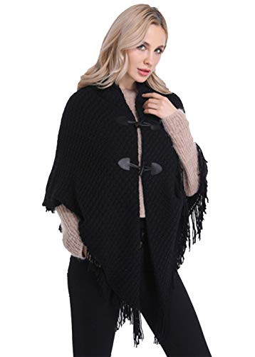 FEOYA - Mujer Ponchos Invierno Otoño Capa de Chal Chaqueta de Punto con Flecos Borlas Termica Elegante Cárdigan Talla Grande