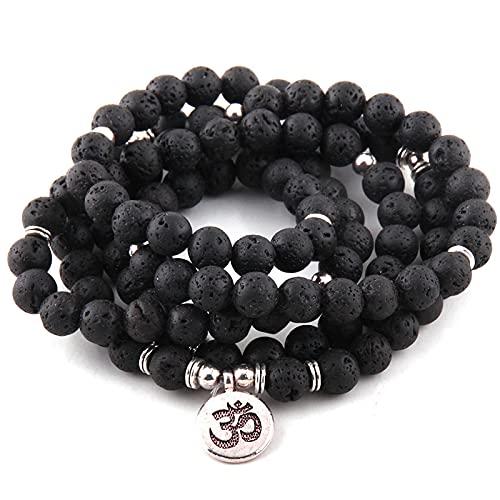 guodong 108 Cuentas De Lava con Piedra Lotus Om Buddha Charm Yoga Pulseras Y Collar