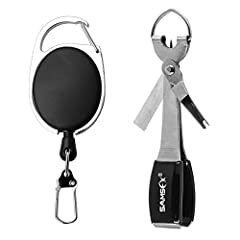 Easy-to-use quick knot tools come with a zinger retractor, easily fits into a pocket Durable stainless steel construction, 4 in 1 design consolidates gear into one easy to use tool Features hook sharpener, line clippers, jig eye cleaner / line knot p...