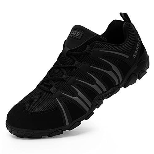 Ziboyue Sicherheitsschuhe Arbeitsschuhe Herren, Sicherheit Stahlkappe Leicht Sportlich Anti-Perforations Luftdurchlässige Schuhe (Schwarzer Wald,42 EU)