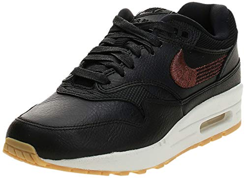 Nike Wmns Air MAX 1 PRM, Zapatillas de Gimnasia para Mujer, Negro (Black/Black/Gum Yellow/Summit 020), 38 EU