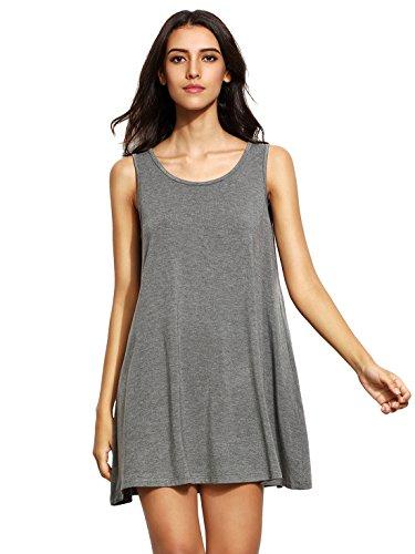 Romwe de la mujer Casual camiseta sin mangas Swing vestido túnica sin mangas para vestidos