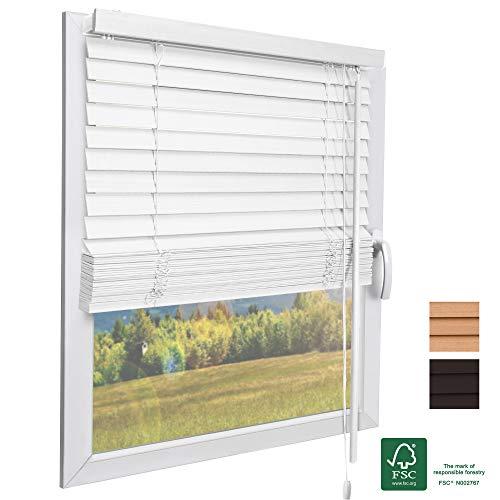Sol Royal FSC® Holzjalousie SolDecor JH3 Jalousie aus Holz in Weiß - 90x160 cm Tür- und Fensterjalousie Holz umweltschonend produziert - Jalousien Fenster