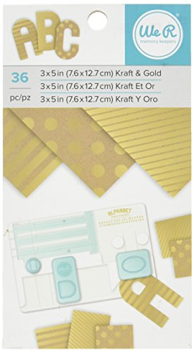 We R Memory Keepers Set De Papeles Kraft and Gold Foil ABC Punch Board 7X12Cm, Materiales sintéticos, Multicolor, Talla única