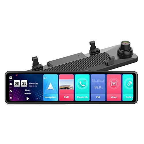 auspilybiber Nuevo 12 Pulgadas 4G Android Espejo retrovisor Coche DVR HD 1080P GPS WiFi ADAS Dash CAM Grabadora de Doble Lente Registrador automático de cámara DVR