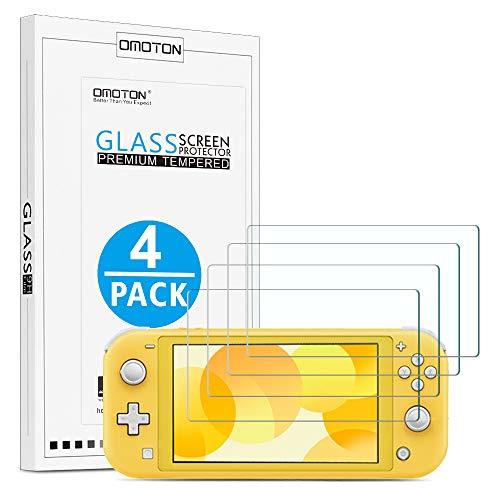 OMOTON [4 Stück] Panzerglas Schutzfolie für Nintendo Switch Lite [5.5 Zoll], Anti-Kratzer, Bläschenfrei, Switch lite Displayschutzfolie, [2.5D] Schutzglas