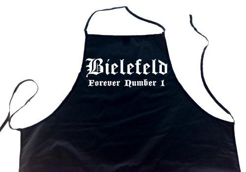 ShirtShop-Saar Bielefeld - Forever Number 1; Städte Schürze (Latzschürze - Grillen, Kochen, Berufsbekleidung, Kochschürze), schwarz