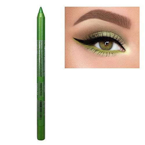 DAVI 1pcs Color Eyeliner Pen Pearl The Shadows Pen Waterproof Not Blooming Make Up Comestics Long-lasting Eye Pencil comes with a free pencil sharpener (10 Green)