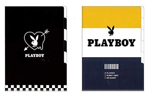 【PLAYBOY/プレイボーイ】A4 5インデックスクリアファイル 2枚セット(ハート63185/ボーダー63186)
