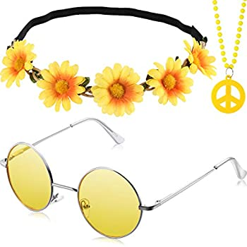 3 Pieces Hippie Costume Party Accessories Set includes Peace Sign Bead Necklace Flower Crown Headband Hippie Sunglasses for Adults Kids