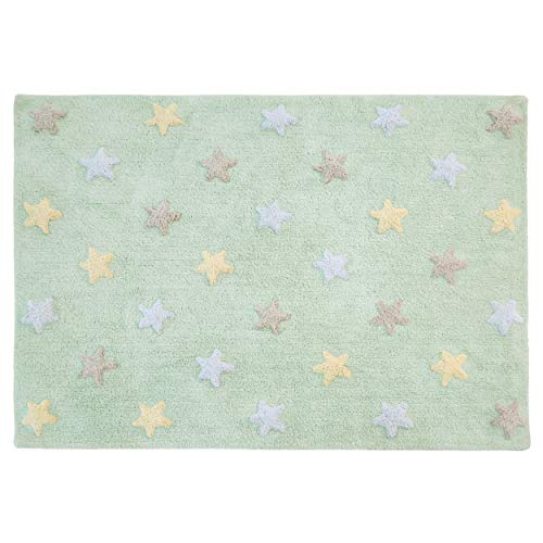 Lorena Canals Tricolor Estrellas Lavable Alfombra, algodón, Suave, Verde Menta, 120x 160x 30cm